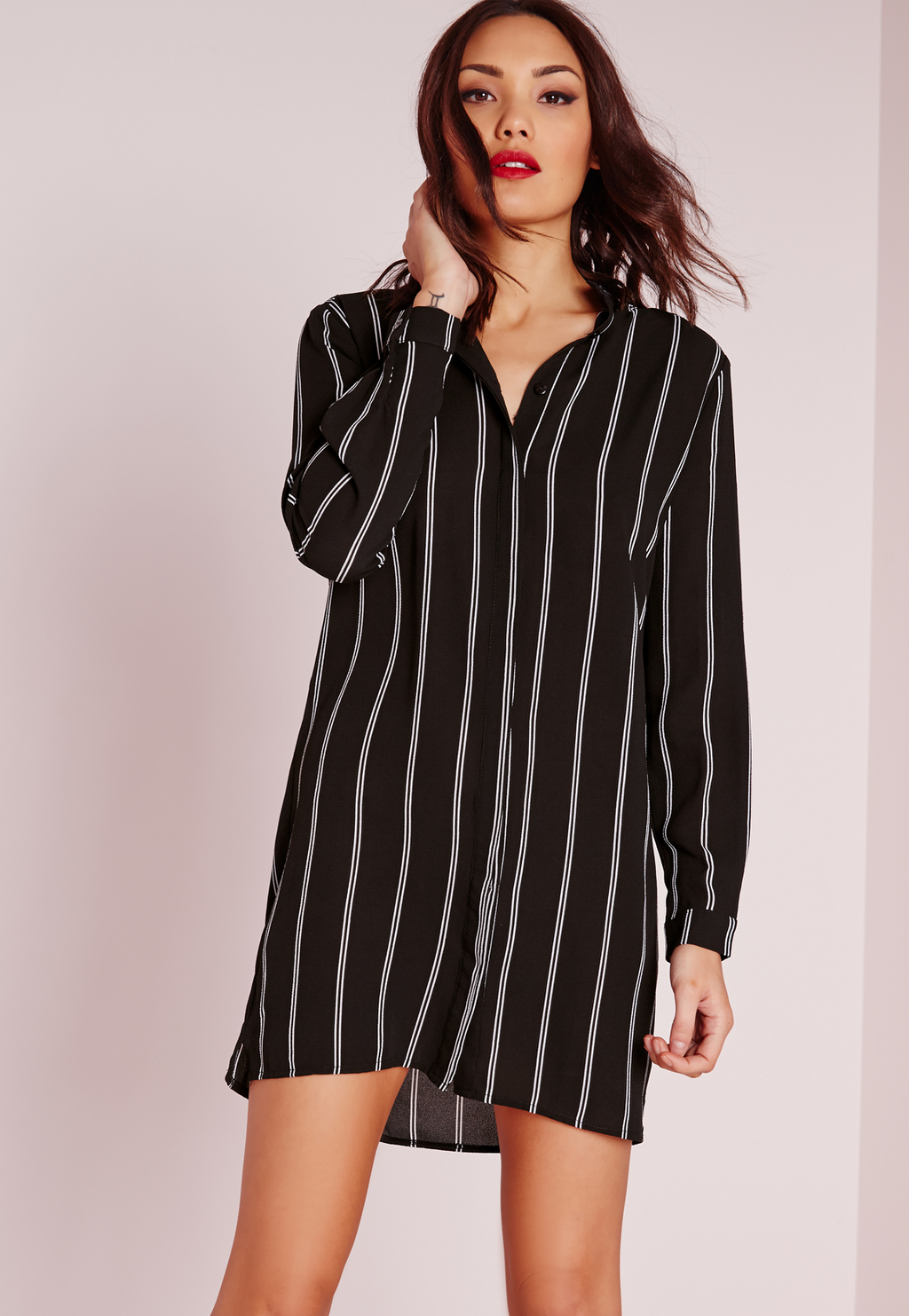 Collarless Stripe Shirt Dress Black/White, Black - style: shirt; length: mid thigh; neckline: shirt collar/peter pan/zip with opening; pattern: vertical stripes; secondary colour: light grey; predominant colour: black; occasions: casual, creative work; fit: body skimming; fibres: polyester/polyamide - 100%; sleeve length: long sleeve; sleeve style: standard; pattern type: fabric; pattern size: standard; texture group: other - light to midweight; season: s/s 2016; wardrobe: highlight