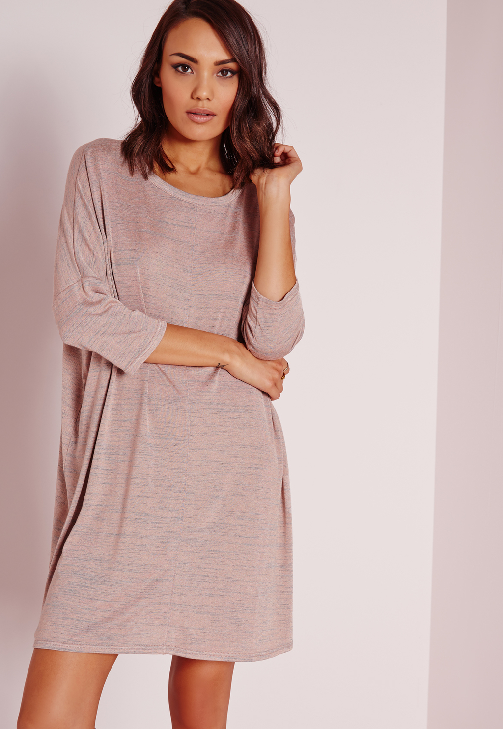 Oversized Slouchy T Shirt Dress Nude Marl, Beige - style: shift; length: mid thigh; neckline: round neck; pattern: plain; predominant colour: nude; occasions: casual, creative work; fit: soft a-line; fibres: polyester/polyamide - 100%; sleeve length: 3/4 length; sleeve style: standard; pattern type: fabric; texture group: jersey - stretchy/drapey; season: s/s 2016; wardrobe: basic
