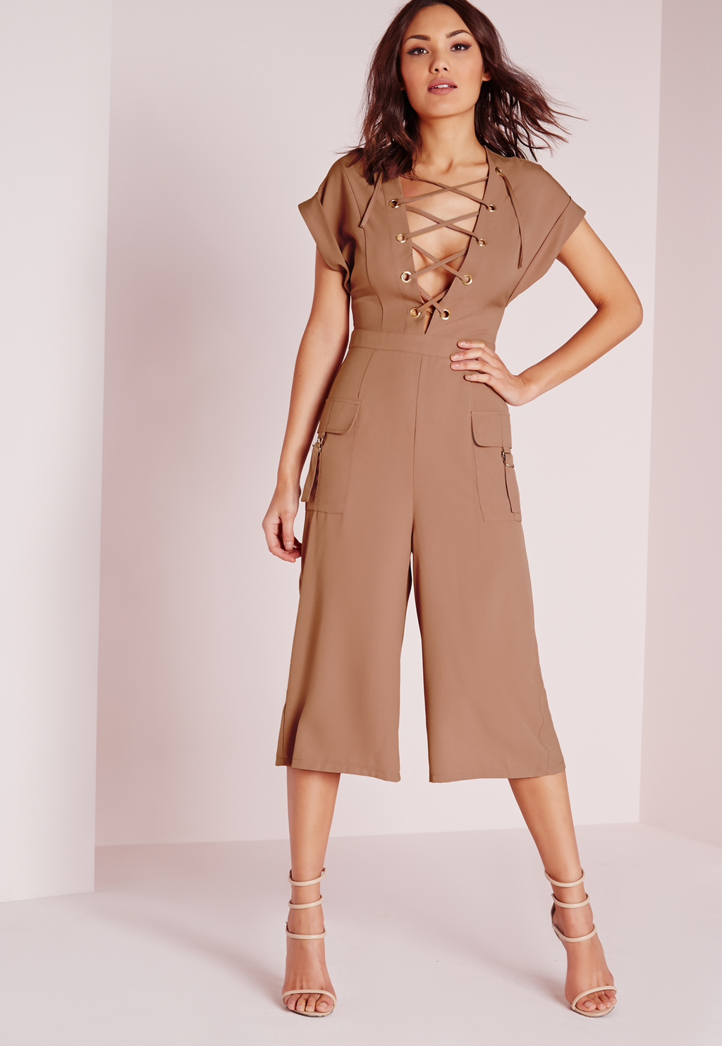 Lace Up Roll Sleeve Culotte Jumpsuit Blush, Beige - neckline: low v-neck; pattern: plain; predominant colour: camel; occasions: evening; length: calf length; fit: body skimming; fibres: polyester/polyamide - stretch; sleeve length: short sleeve; sleeve style: standard; style: jumpsuit; pattern type: fabric; texture group: jersey - stretchy/drapey; season: s/s 2016; wardrobe: event