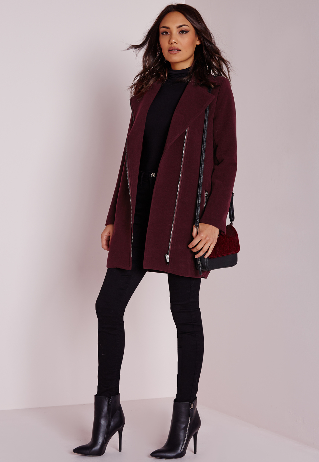 Faux Wool Biker Coat Burgundy, Burgundy - pattern: plain; length: standard; collar: standard biker; predominant colour: burgundy; occasions: casual, creative work; fit: tailored/fitted; fibres: wool - mix; sleeve length: long sleeve; sleeve style: standard; collar break: high/illusion of break when open; pattern type: fabric; texture group: woven bulky/heavy; style: biker; season: s/s 2016; wardrobe: highlight