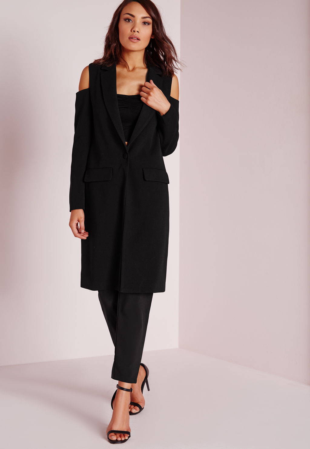 Cold Shoulder Longline Blazer Black, Black - pattern: plain; sleeve style: sleeveless; style: gilet; collar: standard lapel/rever collar; length: on the knee; predominant colour: black; occasions: evening, creative work; fit: tailored/fitted; fibres: polyester/polyamide - 100%; sleeve length: sleeveless; texture group: crepes; collar break: low/open; pattern type: fabric; hip detail: front pockets at hip; season: s/s 2016; wardrobe: highlight