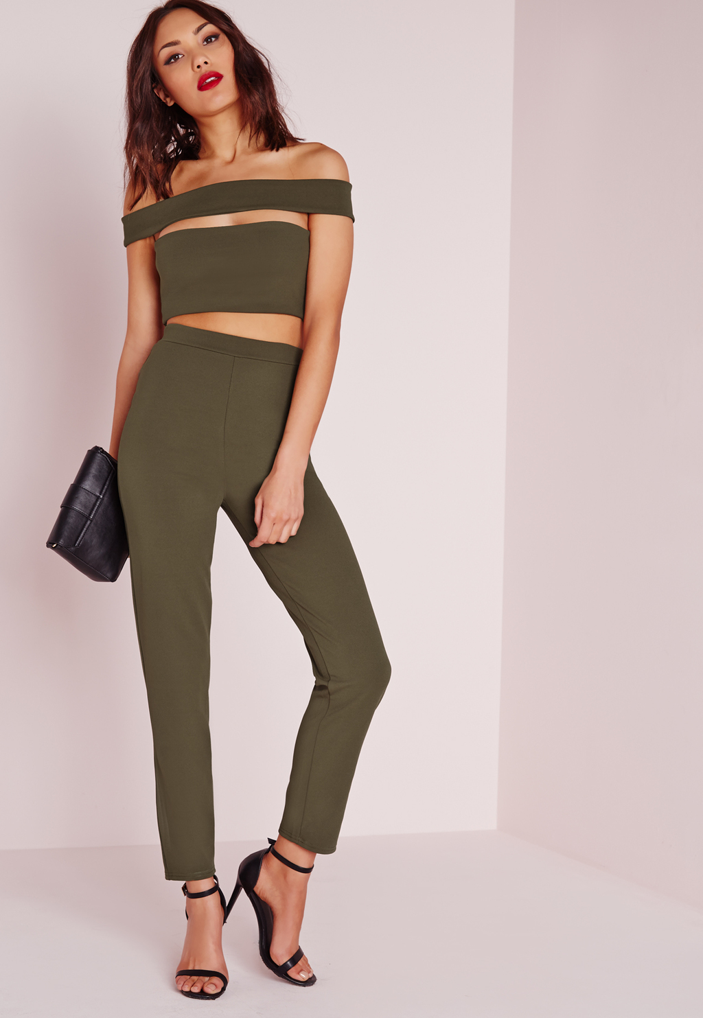 Bandage Bardot Tapered Leg Jumpsuit Khaki, Beige - length: standard; neckline: off the shoulder; pattern: plain; sleeve style: sleeveless; predominant colour: khaki; occasions: evening, occasion; fit: body skimming; fibres: polyester/polyamide - stretch; waist detail: cut out detail; sleeve length: sleeveless; texture group: lycra/elastane mixes; style: jumpsuit; pattern type: fabric; season: s/s 2016