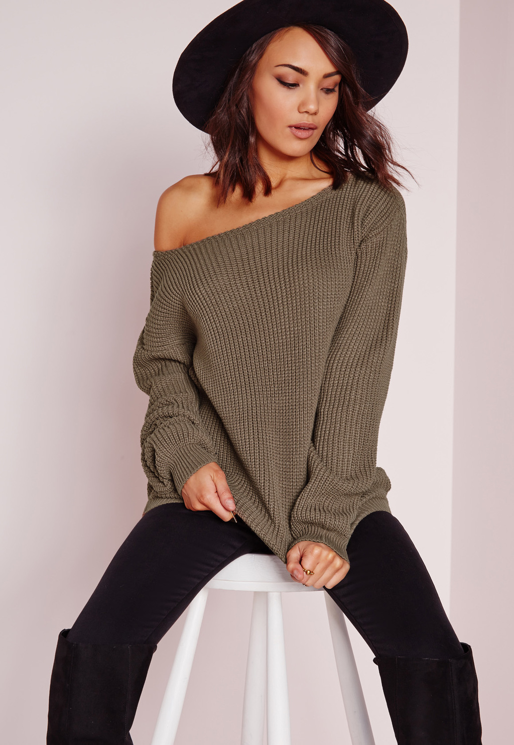Off Shoulder Jumper Taupe, Grey - neckline: slash/boat neckline; pattern: plain; length: below the bottom; style: standard; predominant colour: khaki; occasions: casual; fibres: acrylic - 100%; fit: loose; sleeve length: long sleeve; sleeve style: standard; texture group: knits/crochet; pattern type: knitted - fine stitch; season: s/s 2016; wardrobe: basic
