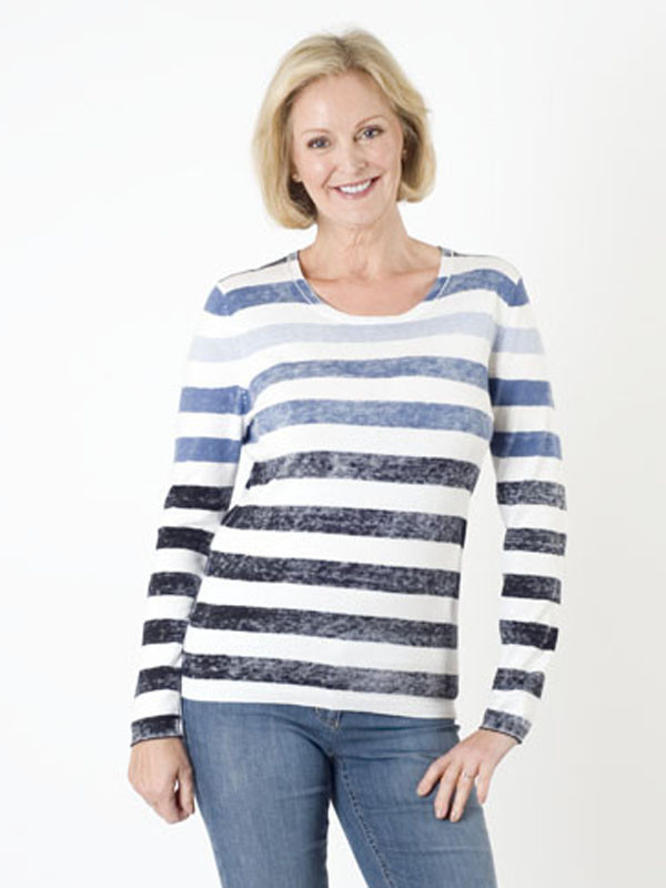 Gerry Weber Washed Stripe Jumper - neckline: round neck; pattern: horizontal stripes; style: standard; predominant colour: white; secondary colour: navy; occasions: casual, creative work; length: standard; fibres: cotton - mix; fit: standard fit; sleeve length: long sleeve; sleeve style: standard; texture group: knits/crochet; pattern type: knitted - fine stitch; pattern size: standard; multicoloured: multicoloured; season: s/s 2016; wardrobe: highlight