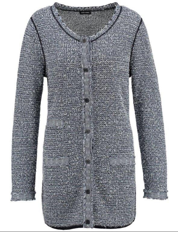 Gerry Weber Bouclé Knit Longline Cardigan - neckline: round neck; pattern: plain; length: below the bottom; predominant colour: mid grey; occasions: casual; style: standard; fibres: cotton - mix; fit: standard fit; sleeve length: long sleeve; sleeve style: standard; texture group: knits/crochet; pattern type: fabric; season: s/s 2016; wardrobe: basic