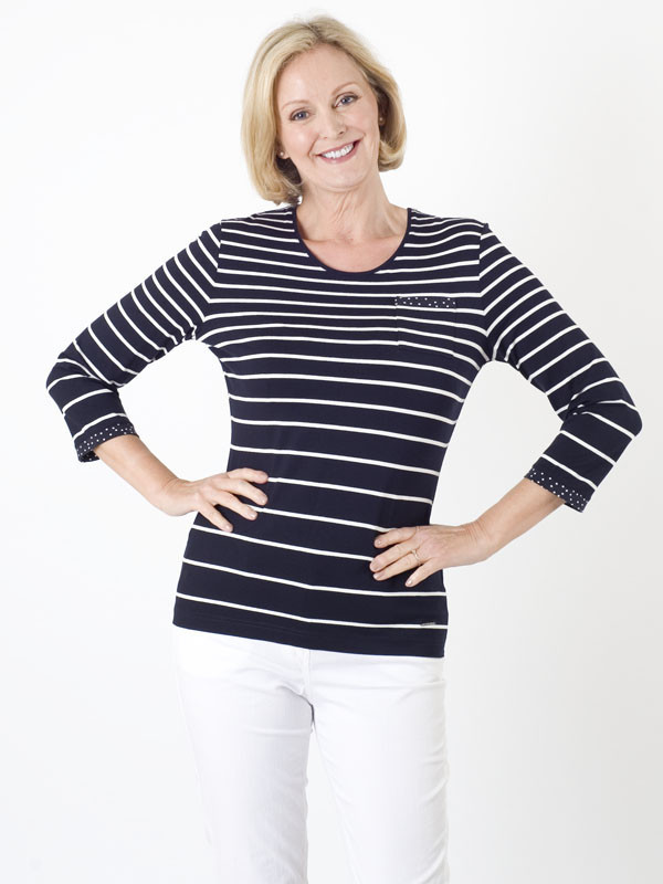Gerry Weber Stripe Jersey Top - pattern: horizontal stripes; style: t-shirt; secondary colour: white; predominant colour: navy; occasions: casual; length: standard; fibres: viscose/rayon - stretch; fit: body skimming; neckline: crew; sleeve length: 3/4 length; sleeve style: standard; pattern type: fabric; texture group: jersey - stretchy/drapey; multicoloured: multicoloured; season: s/s 2016; wardrobe: basic