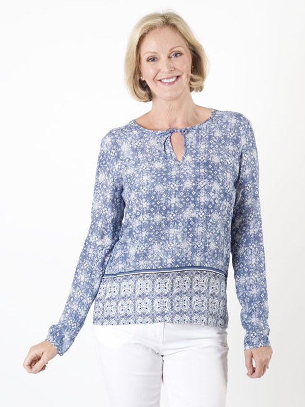 Gerry Weber Printed Tunic Blouse - secondary colour: white; predominant colour: pale blue; occasions: casual; length: standard; style: top; neckline: peep hole neckline; fibres: viscose/rayon - 100%; fit: body skimming; sleeve length: long sleeve; sleeve style: standard; pattern type: fabric; pattern size: standard; pattern: patterned/print; texture group: woven light midweight; multicoloured: multicoloured; season: s/s 2016