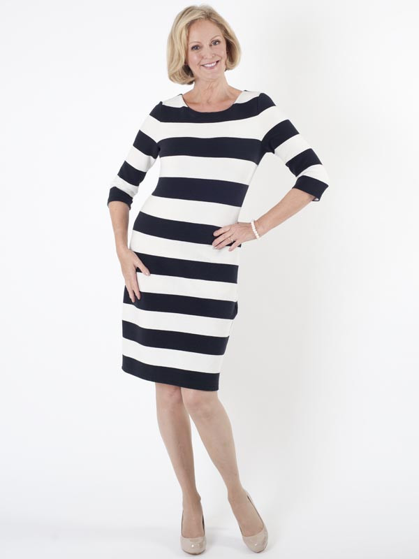 Taifun Stripe Jersey Dress - style: shift; pattern: horizontal stripes; secondary colour: white; predominant colour: black; occasions: casual; length: just above the knee; fit: body skimming; fibres: cotton - mix; neckline: crew; sleeve length: 3/4 length; sleeve style: standard; pattern type: fabric; texture group: jersey - stretchy/drapey; multicoloured: multicoloured; season: s/s 2016; wardrobe: basic