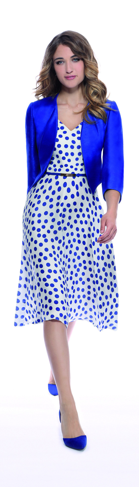Michaela Louisa White And Blue Spot Dress - length: below the knee; neckline: v-neck; sleeve style: sleeveless; pattern: polka dot; waist detail: belted waist/tie at waist/drawstring; predominant colour: white; secondary colour: royal blue; occasions: evening; fit: fitted at waist & bust; style: fit & flare; fibres: polyester/polyamide - 100%; sleeve length: sleeveless; pattern type: fabric; texture group: other - light to midweight; multicoloured: multicoloured; season: s/s 2016; wardrobe: event