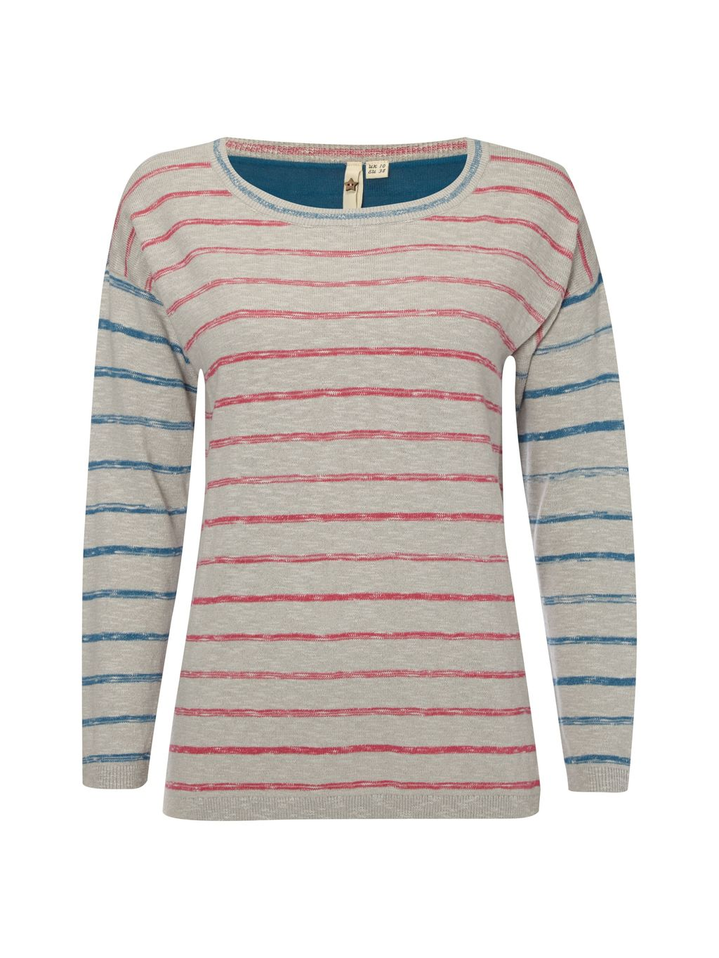 Nepalese Stripe Jumper, Blue - neckline: round neck; pattern: horizontal stripes; style: standard; predominant colour: stone; occasions: casual, creative work; length: standard; fibres: cotton - mix; fit: standard fit; sleeve length: long sleeve; sleeve style: standard; texture group: knits/crochet; pattern type: knitted - fine stitch; pattern size: big & busy (top); multicoloured: multicoloured; season: s/s 2016; wardrobe: highlight