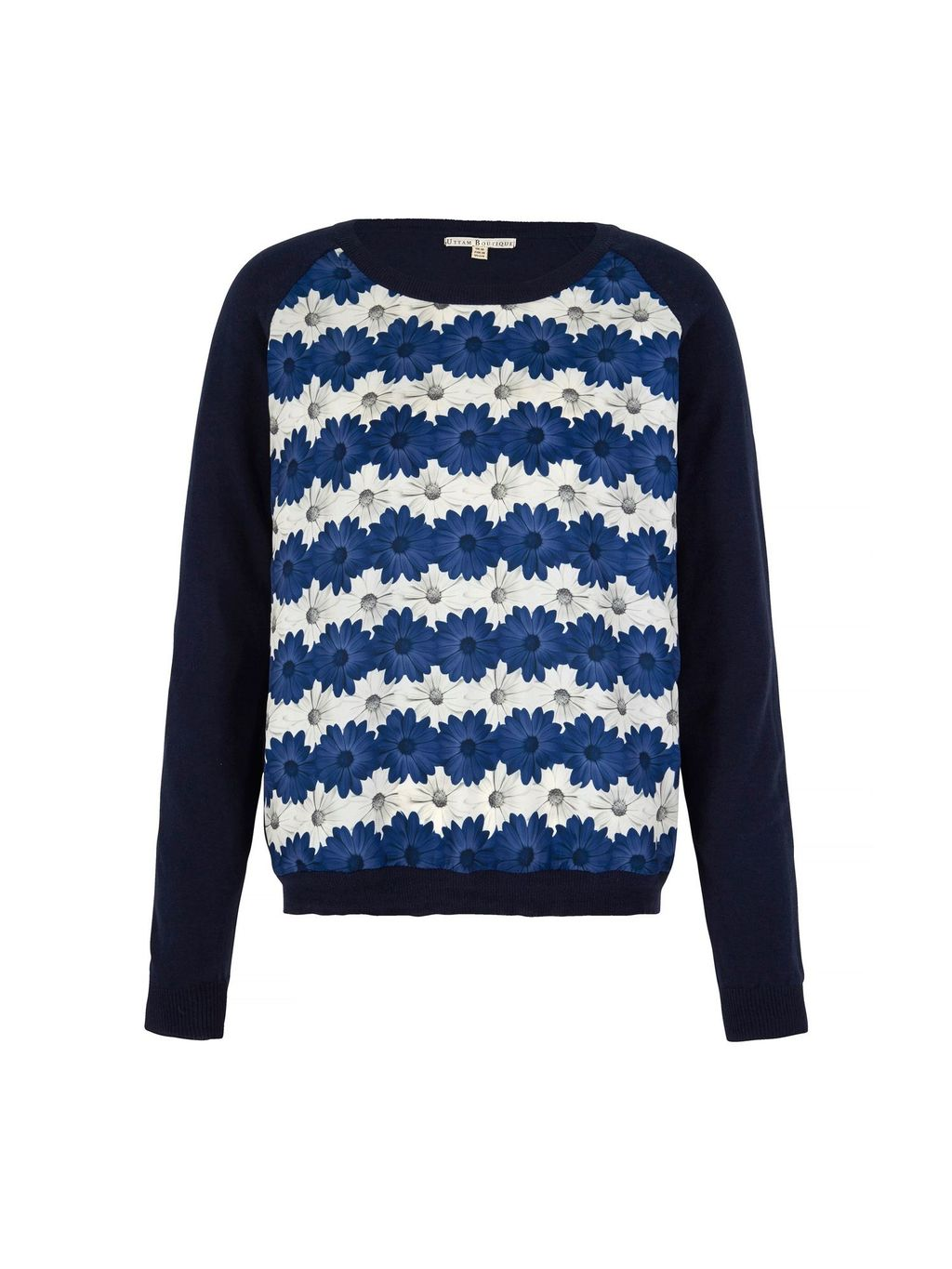 Daisy Stripe Print Jumper, Blue - style: standard; secondary colour: white; predominant colour: royal blue; occasions: casual, creative work; length: standard; fibres: cotton - 100%; fit: standard fit; neckline: crew; sleeve length: long sleeve; sleeve style: standard; texture group: knits/crochet; pattern type: knitted - fine stitch; pattern size: standard; pattern: florals; multicoloured: multicoloured; season: s/s 2016; wardrobe: highlight