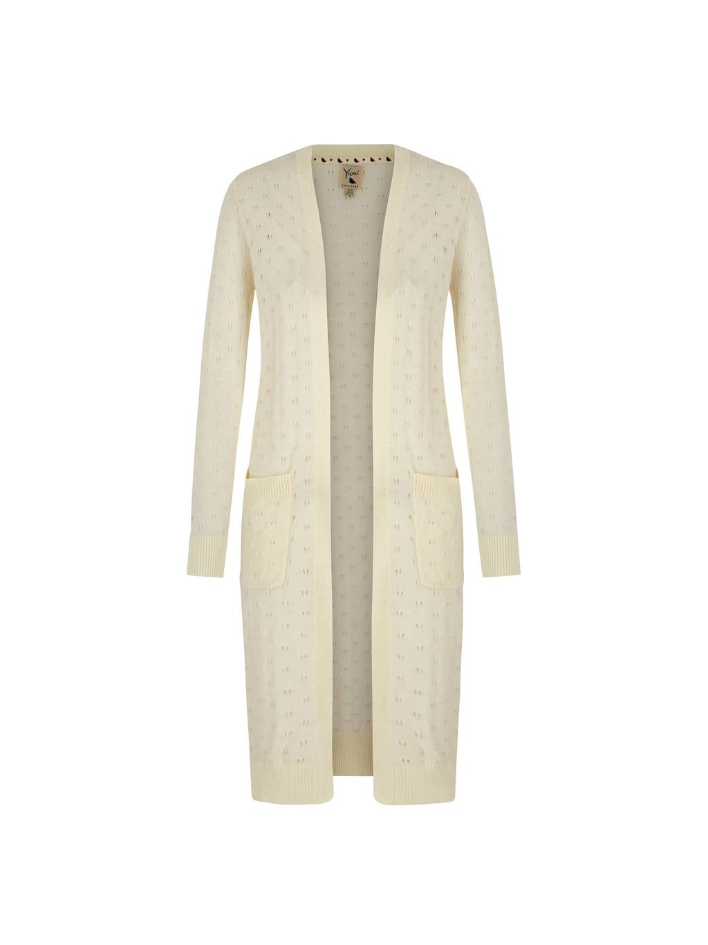 Long Pointelle Cardigan, Cream - pattern: plain; neckline: collarless open; style: open front; length: on the knee; predominant colour: ivory/cream; occasions: casual, creative work; fibres: cotton - 100%; fit: standard fit; sleeve length: long sleeve; sleeve style: standard; texture group: knits/crochet; pattern type: knitted - fine stitch; season: s/s 2016; wardrobe: basic