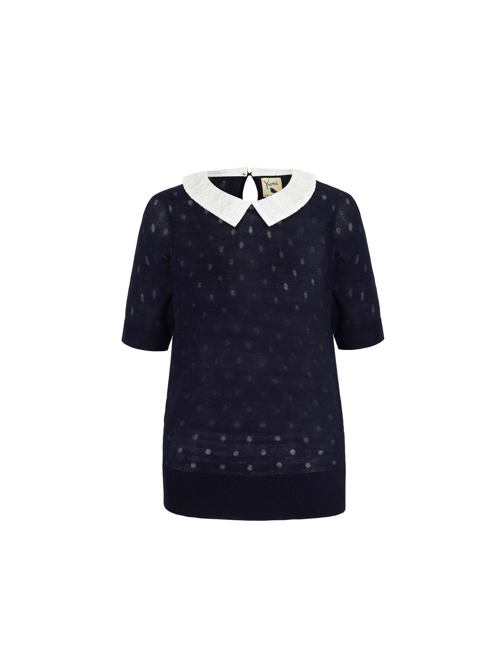 Polka Dot Collar Jumper, Navy - pattern: plain; style: standard; secondary colour: white; predominant colour: navy; occasions: casual, creative work; length: standard; fit: standard fit; neckline: no opening/shirt collar/peter pan; back detail: keyhole/peephole detail at back; sleeve length: short sleeve; sleeve style: standard; texture group: knits/crochet; pattern type: knitted - fine stitch; fibres: viscose/rayon - mix; season: s/s 2016; wardrobe: basic