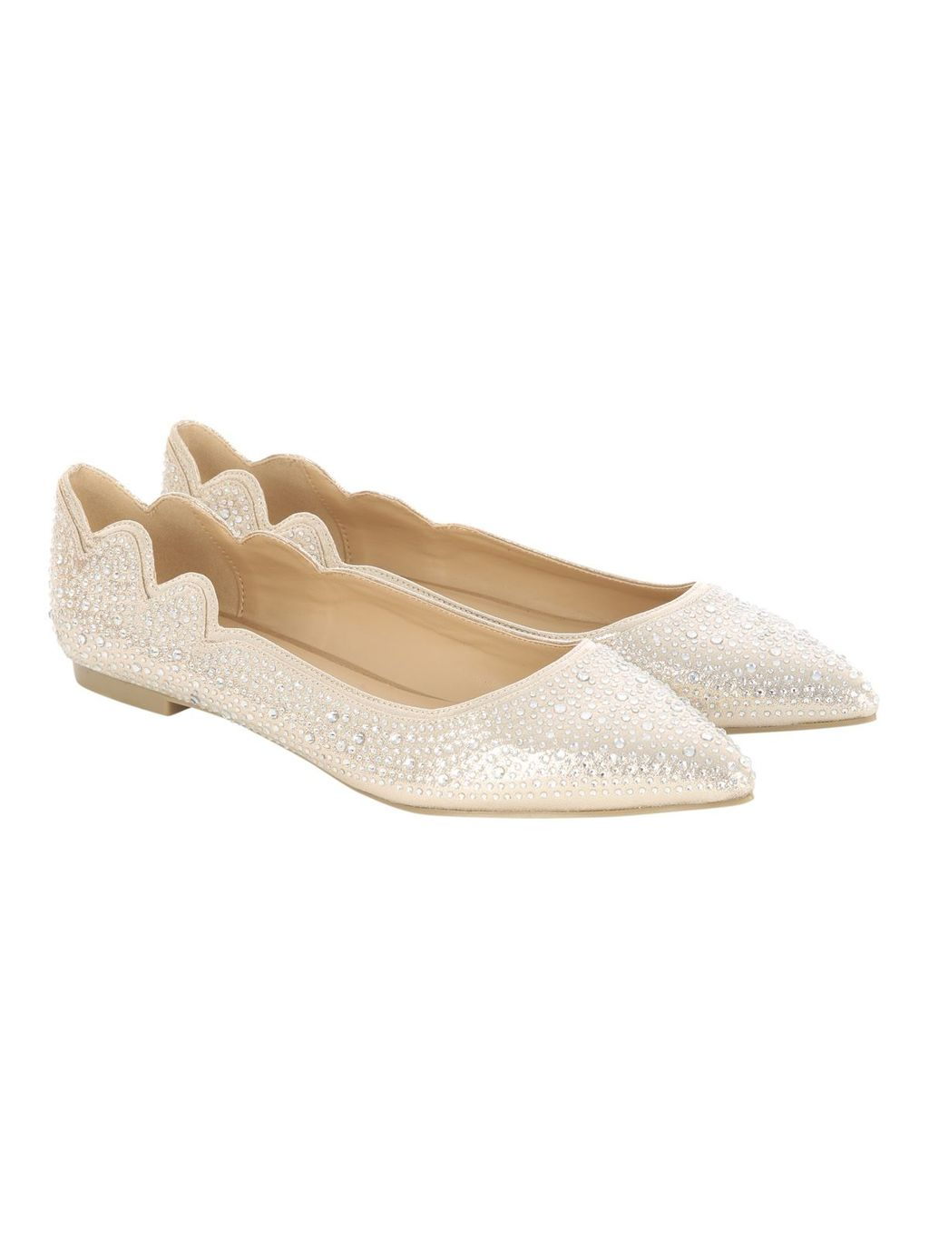 Gold Flat Point Diamante Shoe, Gold - predominant colour: ivory/cream; occasions: occasion; material: satin; heel height: flat; embellishment: crystals/glass; toe: pointed toe; style: ballerinas / pumps; finish: plain; pattern: paisley; season: s/s 2016