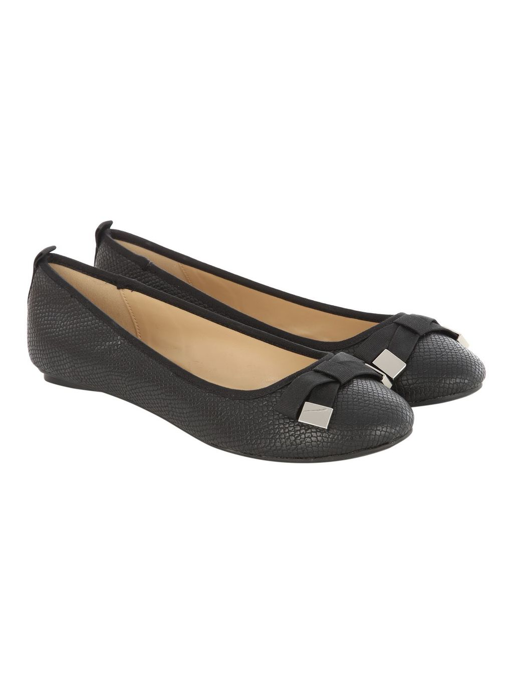 Black Bow Detail Round Flat Shoe, Black - predominant colour: black; occasions: work; material: faux leather; heel height: flat; toe: round toe; style: ballerinas / pumps; finish: plain; pattern: plain; embellishment: bow; season: s/s 2016; wardrobe: basic