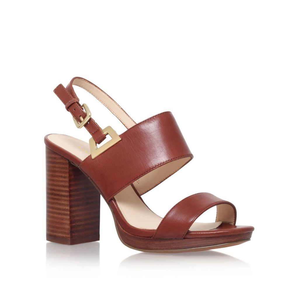 Paladian High Heel Sandals, Tan - predominant colour: tan; occasions: evening; material: leather; heel height: high; ankle detail: ankle strap; heel: block; toe: open toe/peeptoe; style: strappy; finish: plain; pattern: plain; season: s/s 2016; wardrobe: event