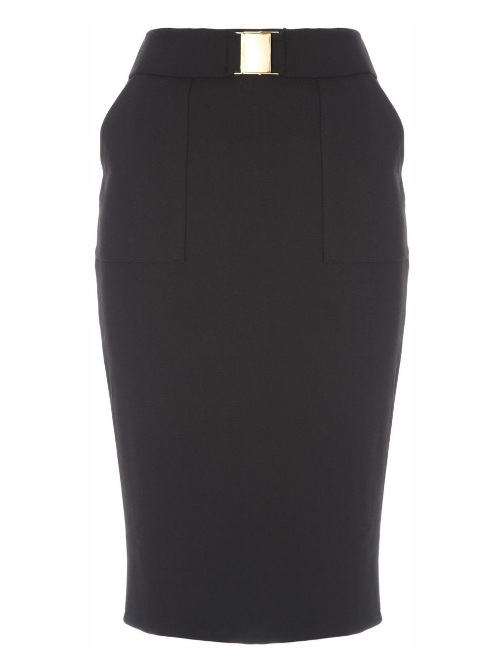 Black Buckle Pencil Skirt, Black - pattern: plain; style: pencil; fit: tailored/fitted; waist: high rise; waist detail: belted waist/tie at waist/drawstring; predominant colour: black; occasions: evening, work, creative work; length: just above the knee; fibres: viscose/rayon - stretch; pattern type: fabric; texture group: woven light midweight; season: s/s 2016; wardrobe: basic