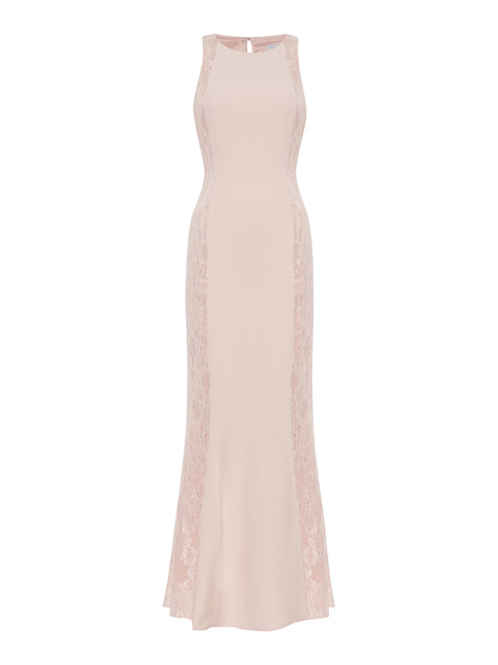Sleeveless Gown With Lace Side Panels, Blush - style: ballgown; pattern: plain; sleeve style: sleeveless; predominant colour: nude; occasions: evening; length: floor length; fit: body skimming; fibres: polyester/polyamide - stretch; neckline: crew; sleeve length: sleeveless; pattern type: fabric; texture group: jersey - stretchy/drapey; season: s/s 2016; wardrobe: event