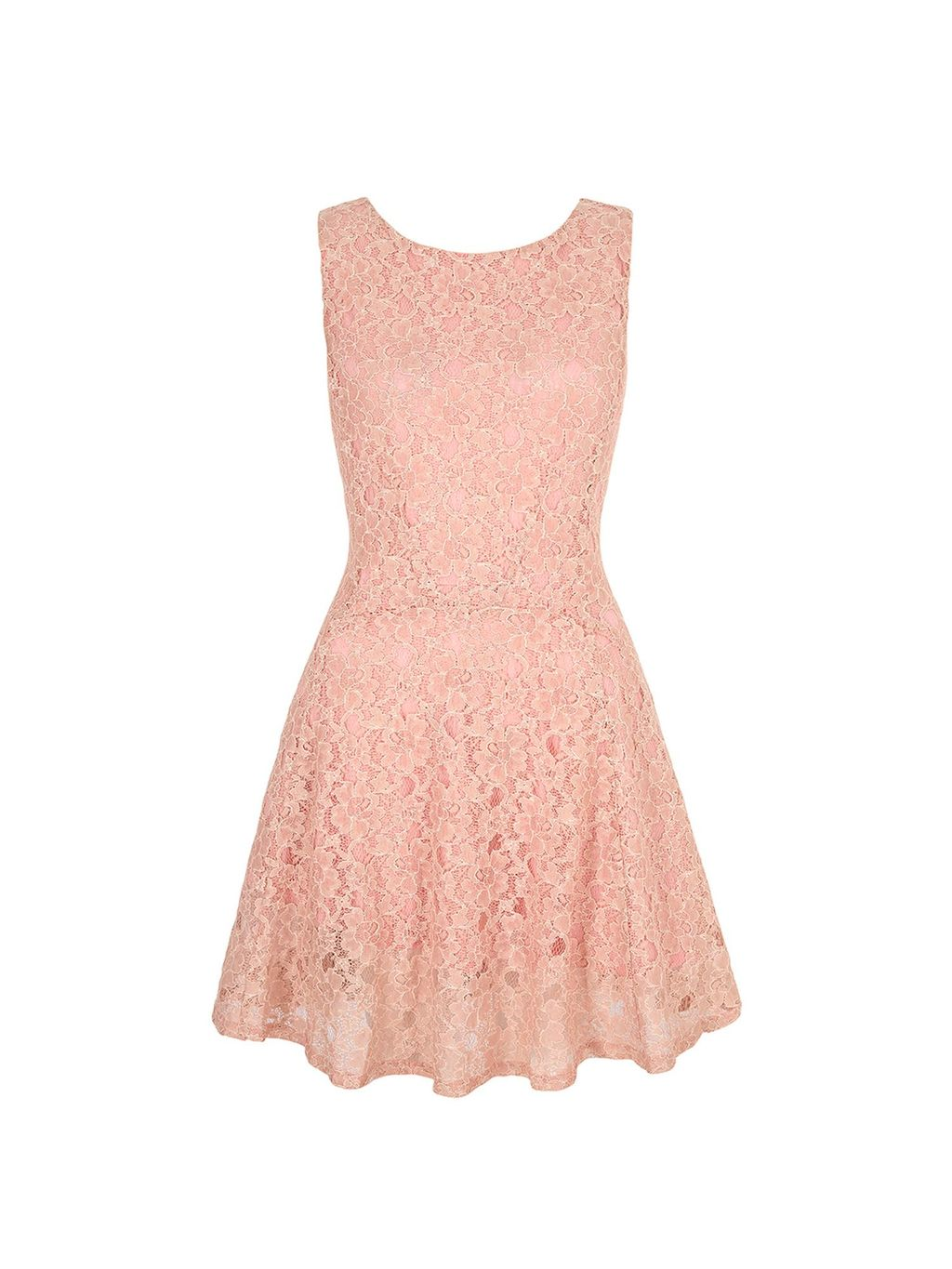 Lace Skater Dress, Blush - length: mid thigh; neckline: round neck; sleeve style: sleeveless; predominant colour: nude; fit: fitted at waist & bust; style: fit & flare; occasions: occasion; sleeve length: sleeveless; texture group: lace; pattern type: fabric; pattern size: standard; pattern: patterned/print; fibres: viscose/rayon - mix; embellishment: lace; season: s/s 2016