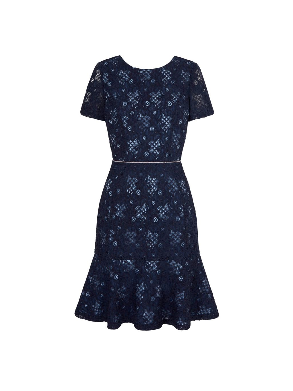 Lace Frill Party Dress, Navy - neckline: round neck; secondary colour: ivory/cream; predominant colour: navy; occasions: evening, occasion; length: just above the knee; fit: fitted at waist & bust; style: fit & flare; sleeve length: short sleeve; sleeve style: standard; texture group: lace; pattern type: fabric; pattern size: standard; pattern: patterned/print; fibres: viscose/rayon - mix; embellishment: lace; season: s/s 2016; wardrobe: event; embellishment location: pattern