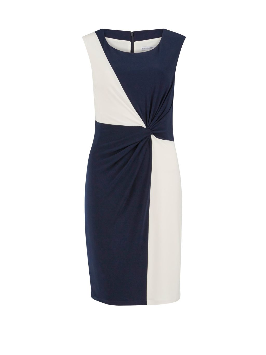 P/S Jersey Geometric Contrast Dress, Navy - style: shift; length: mid thigh; fit: tailored/fitted; sleeve style: sleeveless; waist detail: flattering waist detail; secondary colour: white; predominant colour: navy; neckline: scoop; fibres: polyester/polyamide - 100%; occasions: occasion; sleeve length: sleeveless; pattern type: fabric; pattern size: standard; pattern: colourblock; texture group: other - light to midweight; season: s/s 2016; wardrobe: event; embellishment: contrast fabric; embellishment location: bust, hip