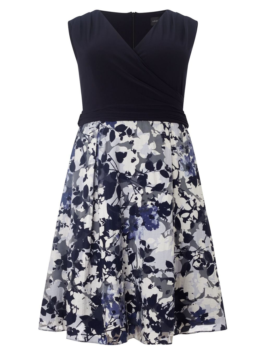 Jessy Dress, Navy - style: faux wrap/wrap; length: mid thigh; neckline: v-neck; sleeve style: sleeveless; secondary colour: ivory/cream; predominant colour: navy; fit: fitted at waist & bust; fibres: polyester/polyamide - stretch; occasions: occasion; sleeve length: sleeveless; pattern type: fabric; pattern size: standard; pattern: florals; texture group: jersey - stretchy/drapey; season: s/s 2016; wardrobe: event; embellishment: contrast fabric; embellishment location: top