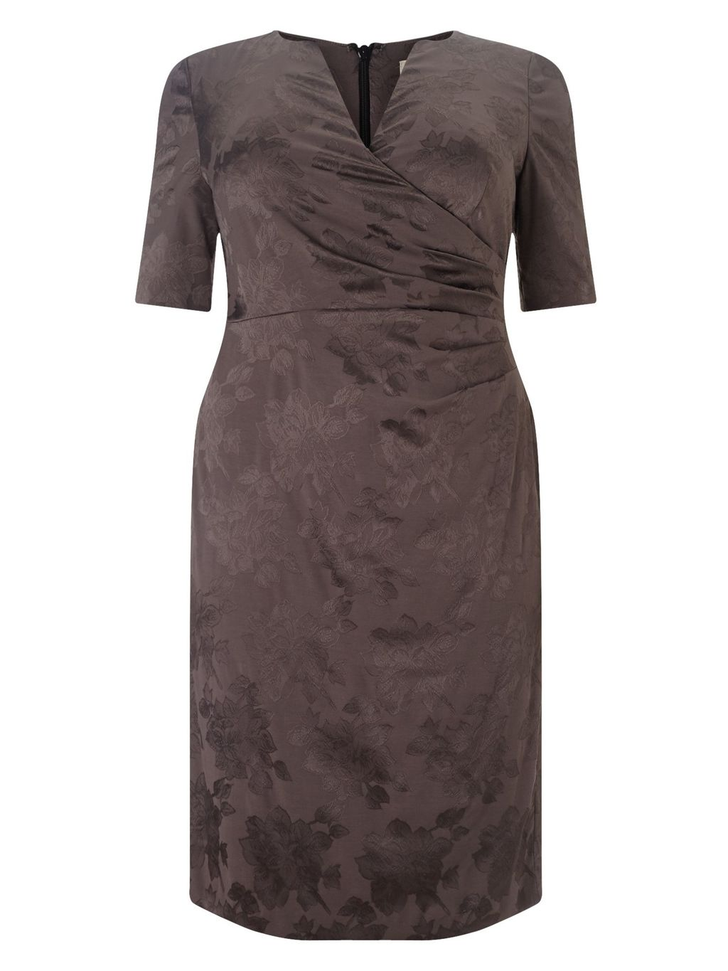 Rosalie Dress, Grey - style: faux wrap/wrap; neckline: v-neck; fit: tailored/fitted; predominant colour: taupe; length: just above the knee; fibres: polyester/polyamide - 100%; occasions: occasion; sleeve length: half sleeve; sleeve style: standard; pattern type: fabric; pattern size: standard; pattern: florals; texture group: brocade/jacquard; season: s/s 2016; wardrobe: event