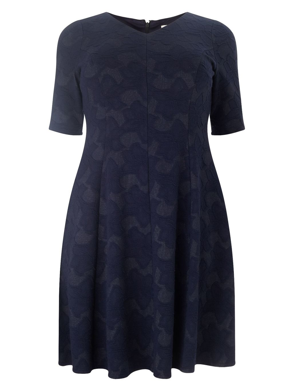Debbie Dress, Navy - style: shift; neckline: v-neck; predominant colour: navy; occasions: casual, creative work; length: just above the knee; fit: soft a-line; fibres: cotton - mix; sleeve length: short sleeve; sleeve style: standard; pattern type: fabric; pattern size: standard; pattern: patterned/print; texture group: jersey - stretchy/drapey; season: s/s 2016; wardrobe: highlight