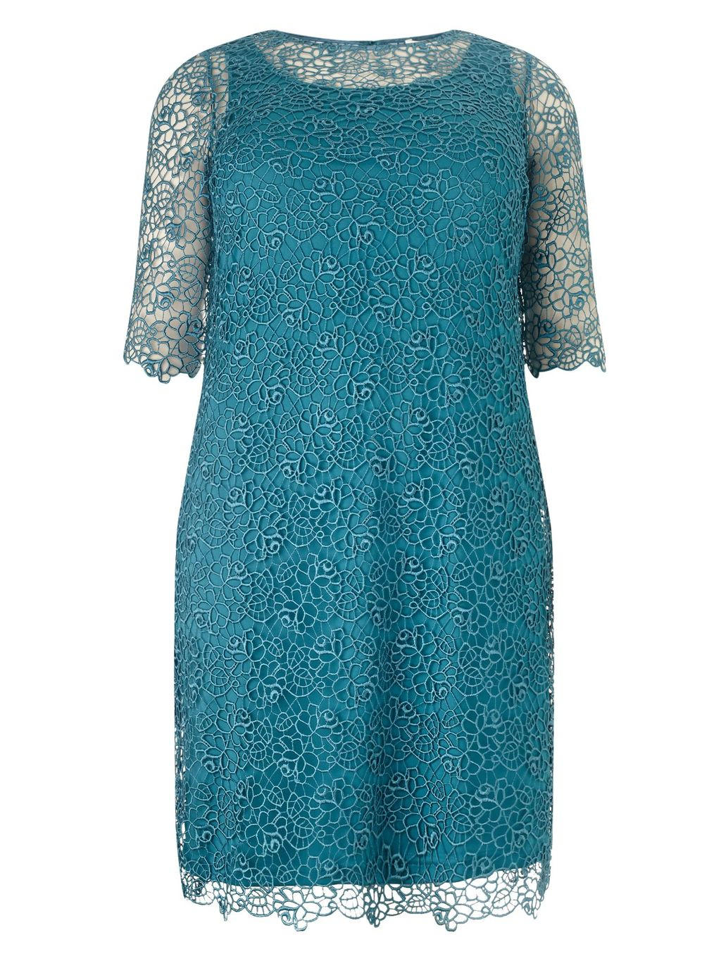Nicolette Dress, Green - style: tunic; length: mid thigh; predominant colour: teal; fit: straight cut; fibres: polyester/polyamide - 100%; occasions: occasion; neckline: crew; sleeve length: half sleeve; sleeve style: standard; texture group: lace; pattern type: fabric; pattern size: standard; pattern: patterned/print; season: s/s 2016