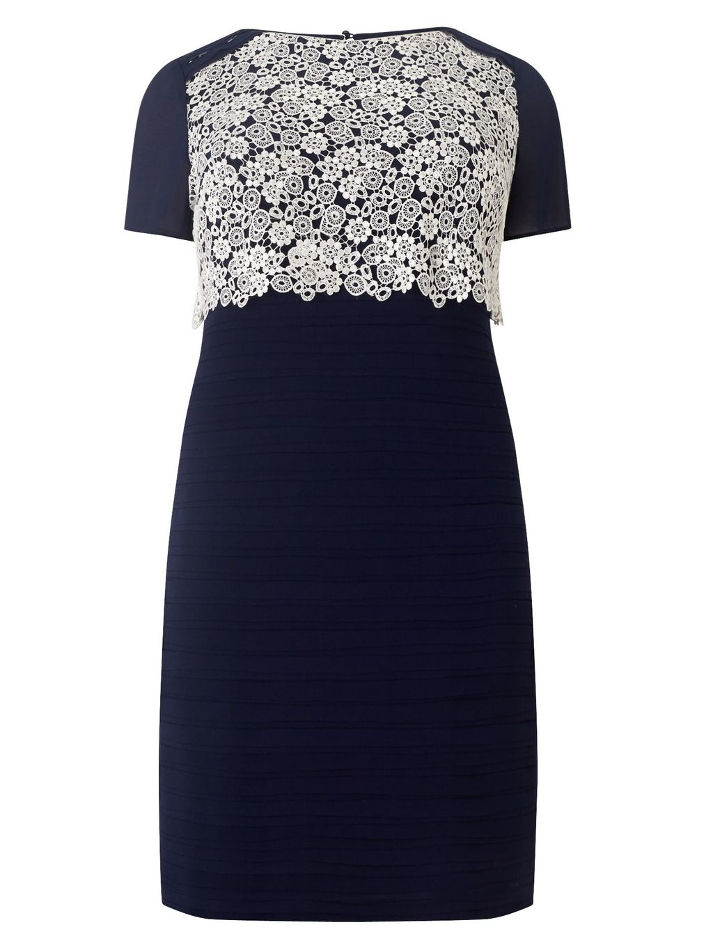 Lucia Dress, Navy - style: shift; length: mid thigh; fit: tailored/fitted; pattern: plain; bust detail: added detail/embellishment at bust; shoulder detail: contrast pattern/fabric at shoulder; secondary colour: white; predominant colour: navy; fibres: polyester/polyamide - 100%; occasions: occasion; neckline: crew; sleeve length: short sleeve; sleeve style: standard; pattern type: fabric; texture group: other - light to midweight; embellishment: lace; season: s/s 2016