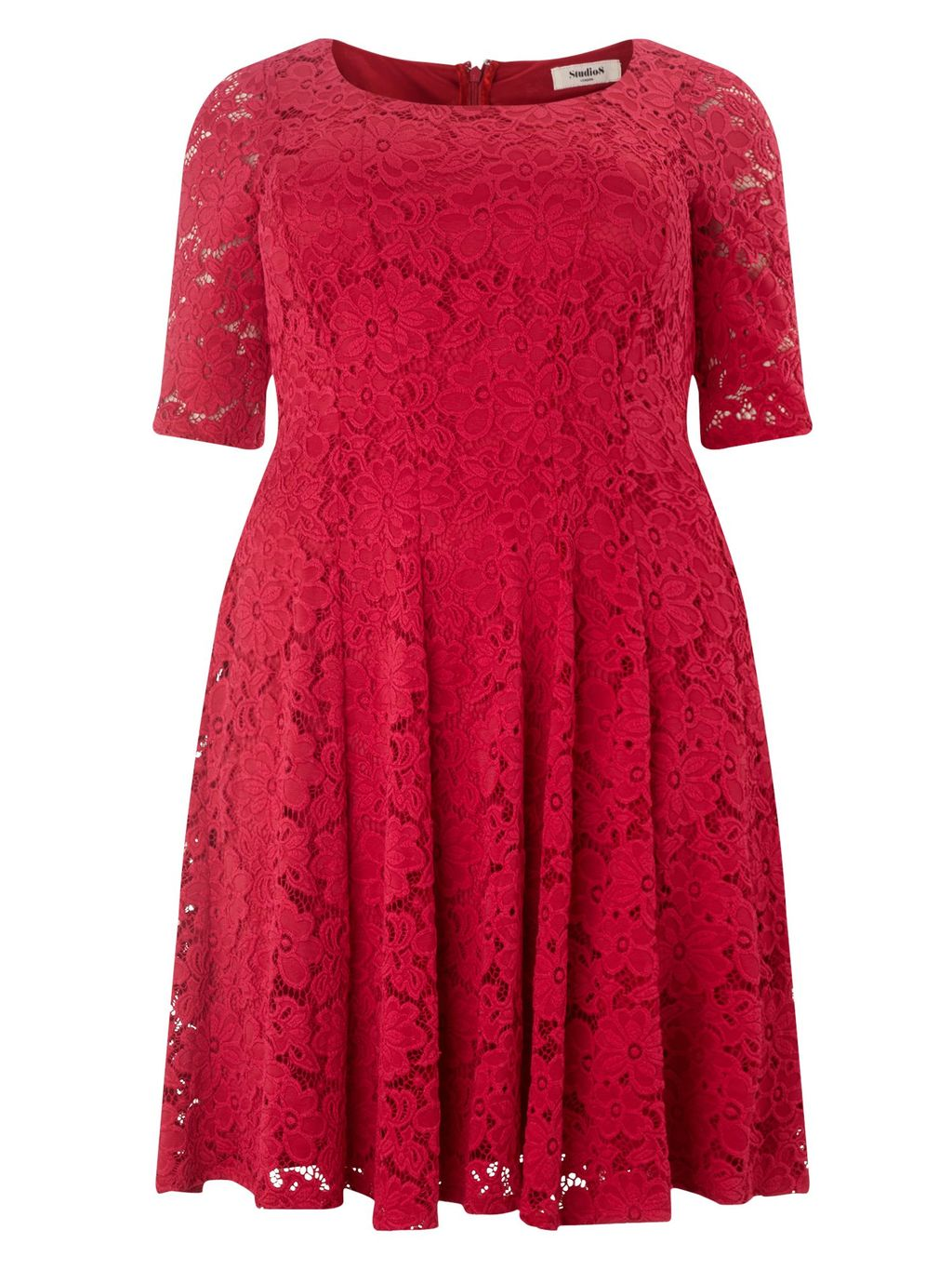 Viola Dress, Pink - style: shift; fit: fitted at waist; occasions: evening, occasion; length: just above the knee; fibres: polyester/polyamide - stretch; neckline: crew; sleeve length: short sleeve; sleeve style: standard; texture group: lace; pattern type: fabric; pattern size: standard; pattern: patterned/print; predominant colour: raspberry; season: s/s 2016; wardrobe: event