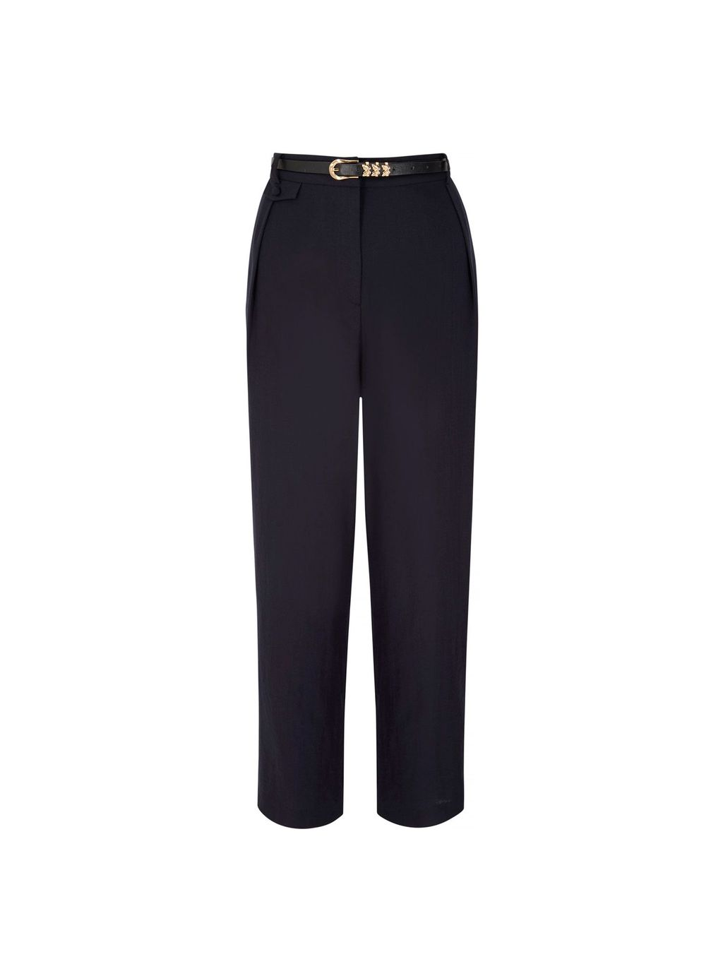 Linen Tailored Trousers, Navy - pattern: plain; waist detail: belted waist/tie at waist/drawstring; waist: mid/regular rise; predominant colour: navy; occasions: work; length: ankle length; fit: straight leg; pattern type: fabric; texture group: woven light midweight; style: standard; fibres: viscose/rayon - mix; season: s/s 2016; wardrobe: basic