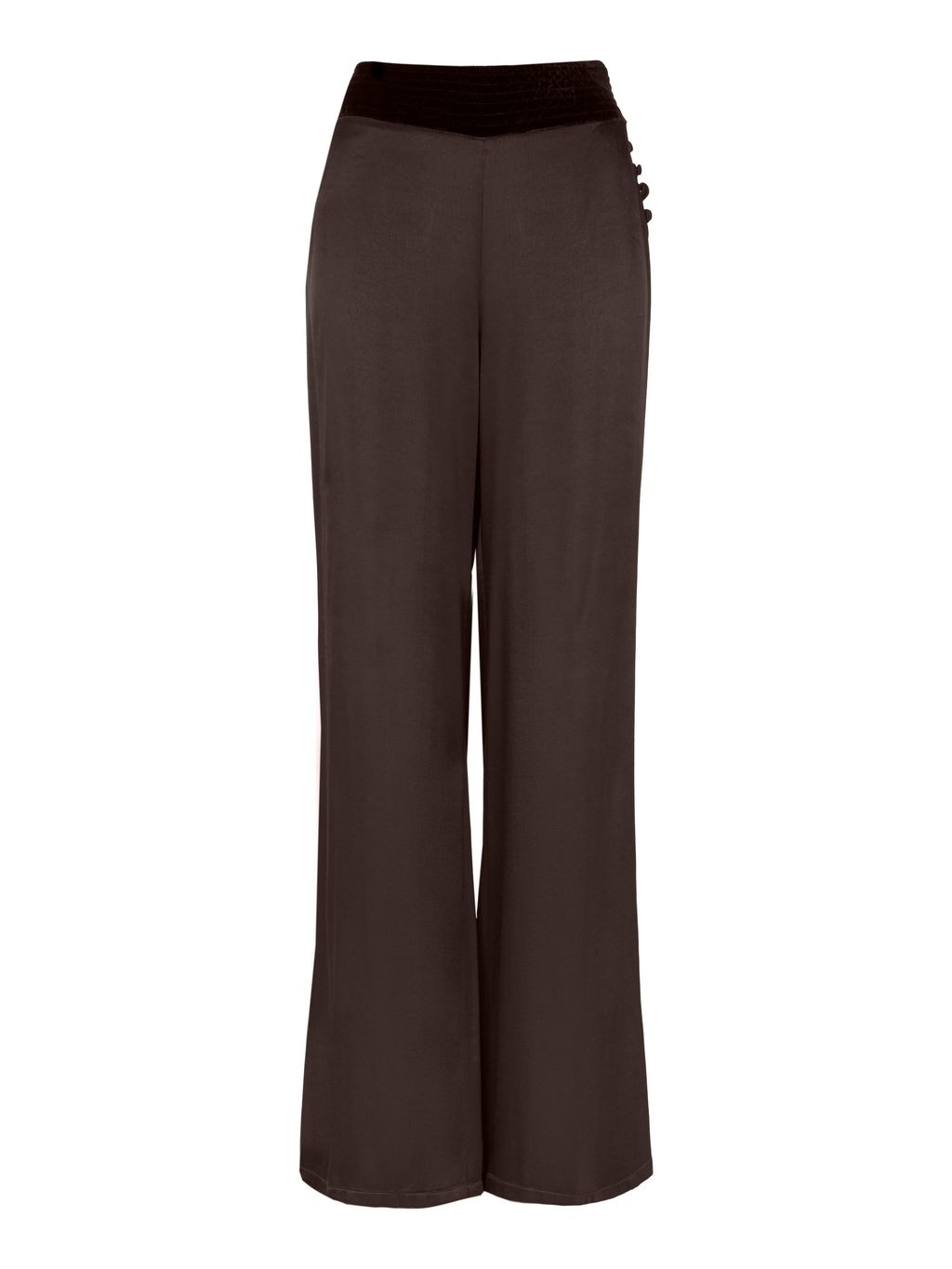 Alice Trousers Chocolate, Brown - length: standard; waist detail: wide waistband/cummerbund; waist: high rise; predominant colour: chocolate brown; secondary colour: black; occasions: casual, work, creative work; fibres: viscose/rayon - 100%; fit: wide leg; pattern type: fabric; pattern: colourblock; texture group: woven light midweight; style: standard; pattern size: standard (bottom); season: s/s 2016; wardrobe: highlight