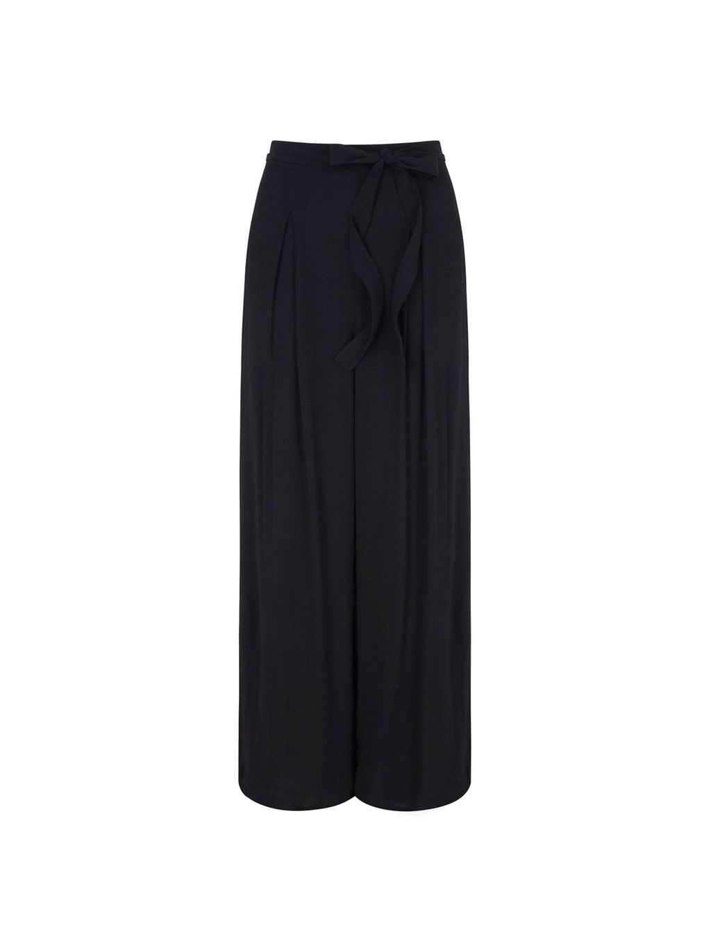 Palazzo Trousers, Black - length: standard; pattern: plain; style: palazzo; waist: high rise; waist detail: belted waist/tie at waist/drawstring; predominant colour: black; fibres: polyester/polyamide - 100%; texture group: crepes; fit: wide leg; pattern type: fabric; occasions: creative work; season: s/s 2016; wardrobe: basic