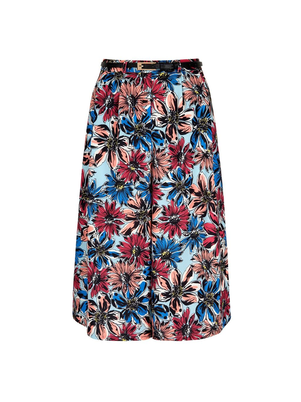 Big Floral Print Culottes, Multi Coloured - waist: high rise; predominant colour: black; occasions: casual, creative work; fibres: polyester/polyamide - 100%; waist detail: feature waist detail; pattern type: fabric; pattern: florals; texture group: other - light to midweight; multicoloured: multicoloured; season: s/s 2016; style: culotte; length: below the knee; wardrobe: highlight