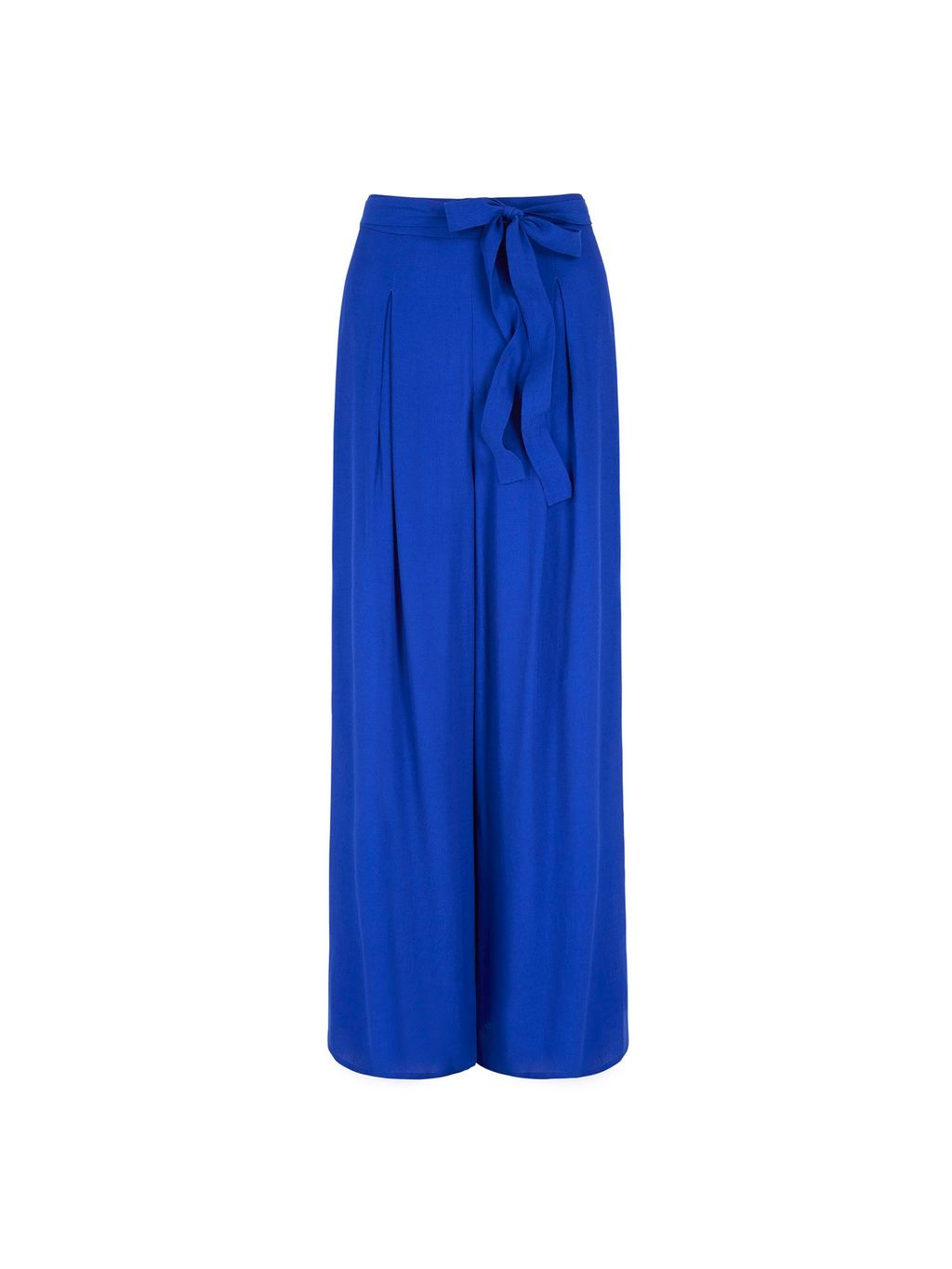 Palazzo Trousers, Cobalt - length: standard; pattern: plain; waist: high rise; waist detail: belted waist/tie at waist/drawstring; predominant colour: royal blue; occasions: casual, creative work; fibres: polyester/polyamide - 100%; texture group: crepes; fit: wide leg; pattern type: fabric; style: standard; season: s/s 2016; wardrobe: highlight
