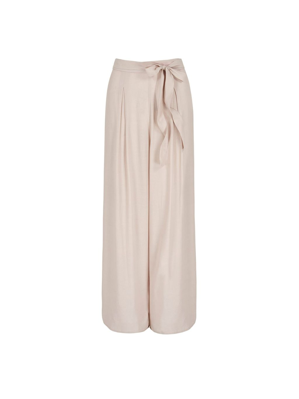 Palazzo Trousers, Beige - length: standard; pattern: plain; style: palazzo; waist: high rise; waist detail: belted waist/tie at waist/drawstring; predominant colour: nude; occasions: evening, creative work; fibres: polyester/polyamide - 100%; texture group: crepes; fit: wide leg; pattern type: fabric; season: s/s 2016; wardrobe: basic