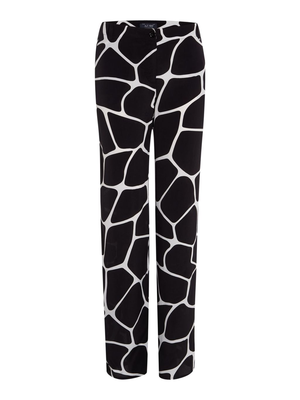 Wide Leg Giraffe Print Trouser, Black - length: standard; waist: mid/regular rise; secondary colour: ivory/cream; predominant colour: black; occasions: evening; fibres: viscose/rayon - 100%; fit: wide leg; pattern type: fabric; pattern: patterned/print; texture group: woven light midweight; style: standard; pattern size: standard (bottom); season: s/s 2016
