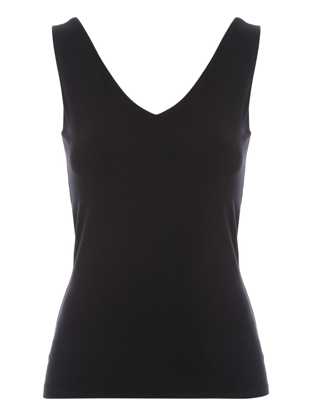 Essential Bust Shelf Reversible Vest, Black - neckline: v-neck; pattern: plain; sleeve style: sleeveless; style: vest top; predominant colour: black; occasions: casual; length: standard; fibres: viscose/rayon - stretch; fit: tight; sleeve length: sleeveless; texture group: jersey - clingy; pattern type: fabric; season: s/s 2016; wardrobe: basic