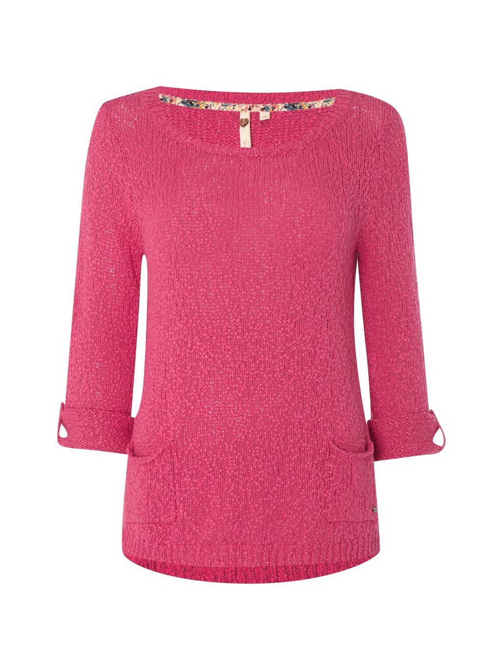 Himalaya Knit Top, Pink - neckline: round neck; pattern: plain; length: below the bottom; predominant colour: hot pink; occasions: casual, creative work; style: top; fibres: cotton - 100%; fit: body skimming; sleeve length: long sleeve; sleeve style: standard; texture group: knits/crochet; pattern type: knitted - other; pattern size: standard; season: s/s 2016; wardrobe: highlight