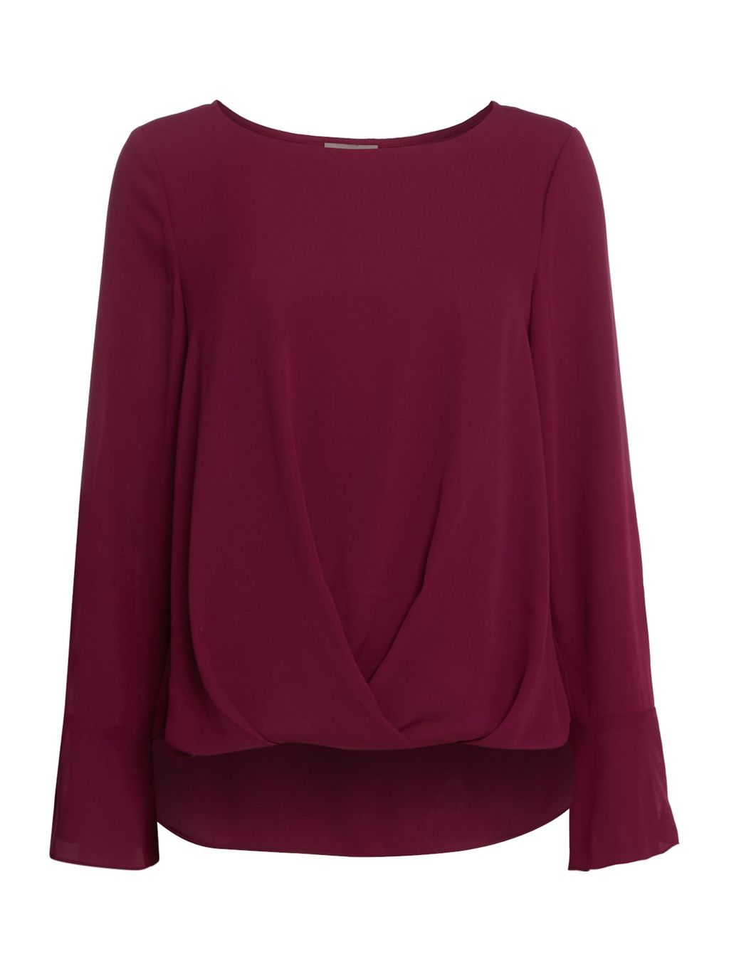 Long Sleeve Woven Blouse, Plum - neckline: round neck; pattern: plain; style: blouse; predominant colour: purple; occasions: casual, creative work; length: standard; fibres: polyester/polyamide - 100%; fit: body skimming; sleeve length: long sleeve; sleeve style: standard; pattern type: fabric; texture group: suede; season: s/s 2016