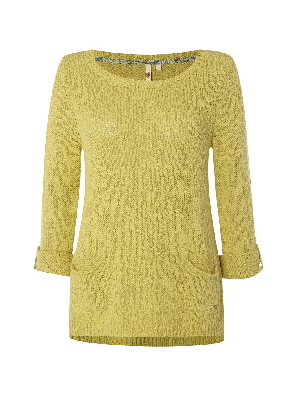 Himalaya Knit Top, Green - neckline: round neck; pattern: plain; predominant colour: yellow; occasions: casual; length: standard; style: top; fibres: cotton - 100%; fit: body skimming; sleeve length: 3/4 length; sleeve style: standard; pattern type: fabric; texture group: jersey - stretchy/drapey; season: s/s 2016; wardrobe: highlight