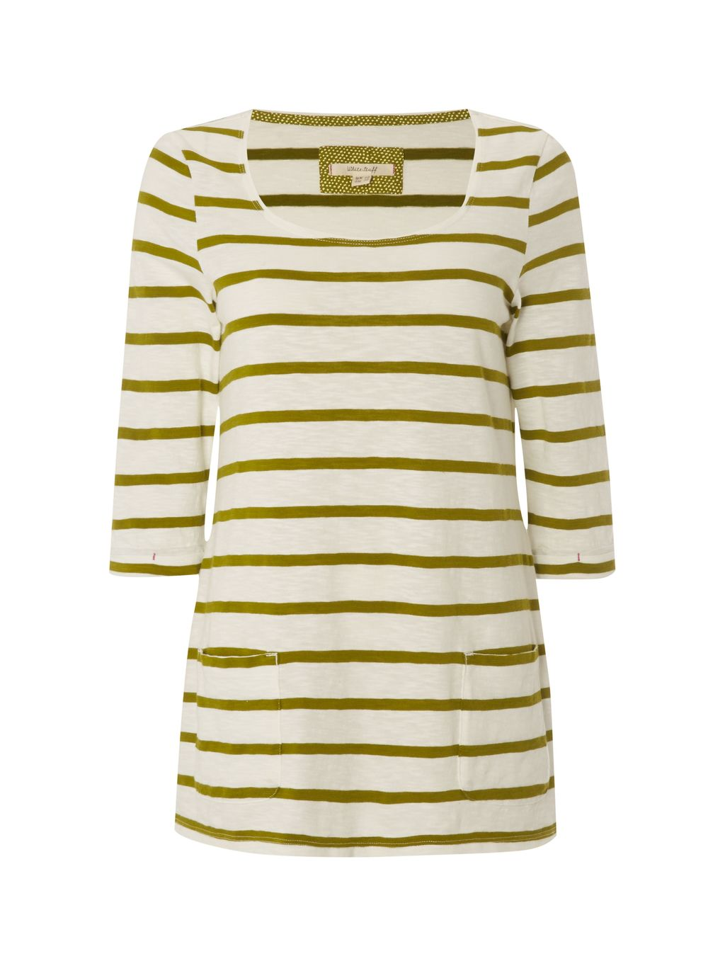 Coast Line Jersey Tee, Green - neckline: round neck; pattern: horizontal stripes; length: below the bottom; style: t-shirt; secondary colour: white; predominant colour: khaki; occasions: casual, creative work; fibres: cotton - 100%; fit: body skimming; sleeve length: 3/4 length; sleeve style: standard; pattern type: fabric; pattern size: light/subtle; texture group: jersey - stretchy/drapey; season: s/s 2016