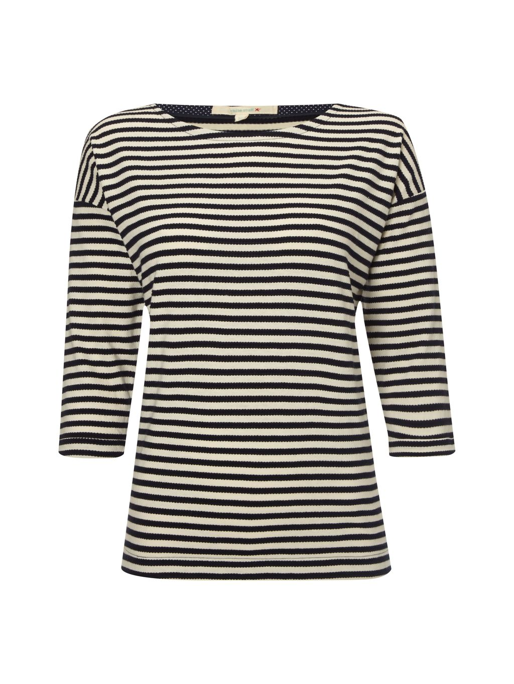 Cherry Stripe Jersey Tee, Navy - sleeve style: dolman/batwing; pattern: horizontal stripes; style: t-shirt; predominant colour: navy; secondary colour: stone; occasions: casual; length: standard; fibres: cotton - 100%; fit: straight cut; neckline: crew; sleeve length: 3/4 length; pattern type: fabric; pattern size: standard; texture group: jersey - stretchy/drapey; season: s/s 2016; wardrobe: basic