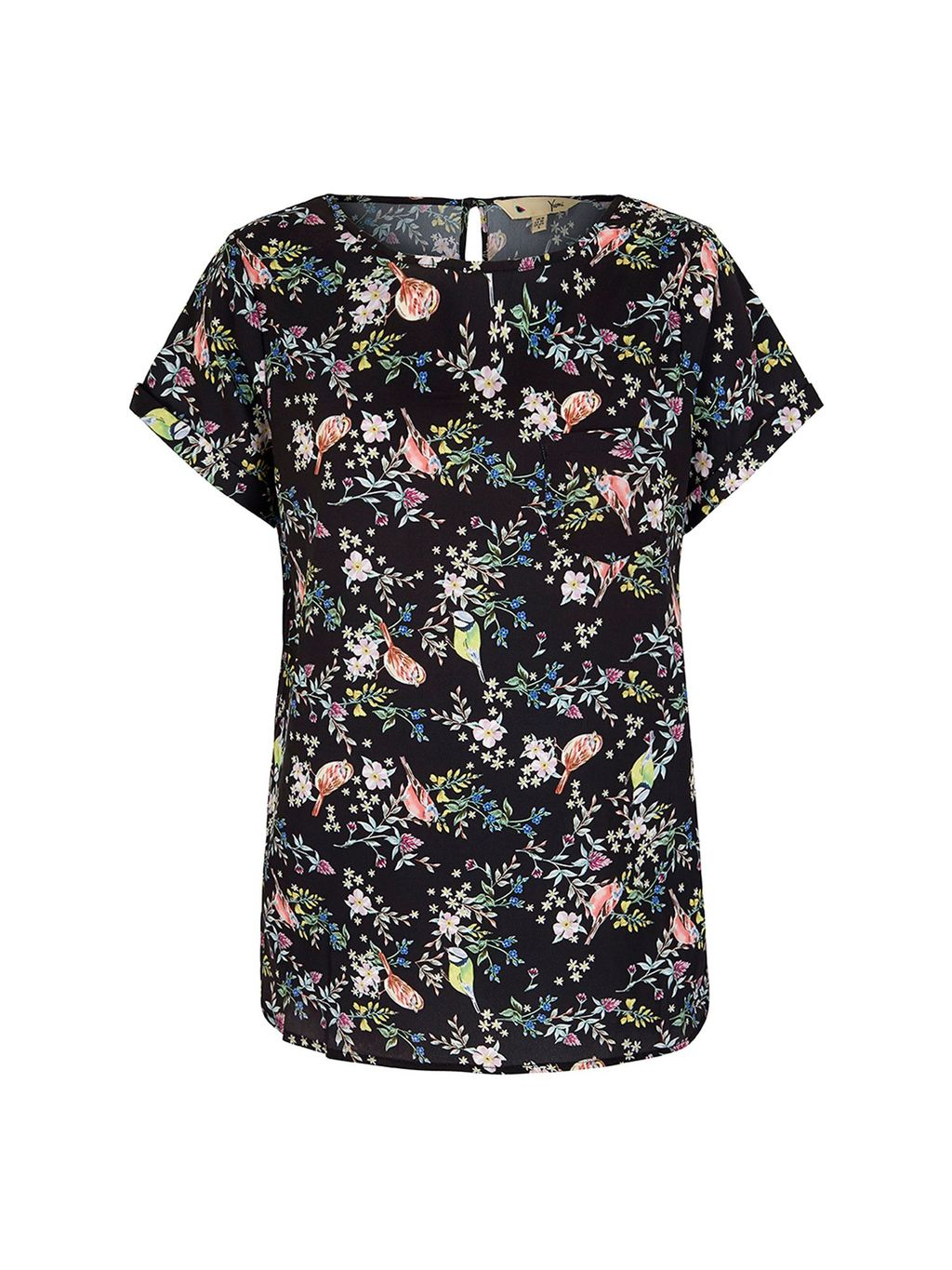 Bird Print Top, Black - secondary colour: blush; predominant colour: black; occasions: casual; length: standard; style: top; fibres: polyester/polyamide - 100%; fit: body skimming; neckline: crew; sleeve length: short sleeve; sleeve style: standard; pattern type: fabric; pattern: florals; texture group: jersey - stretchy/drapey; multicoloured: multicoloured; season: s/s 2016; wardrobe: highlight