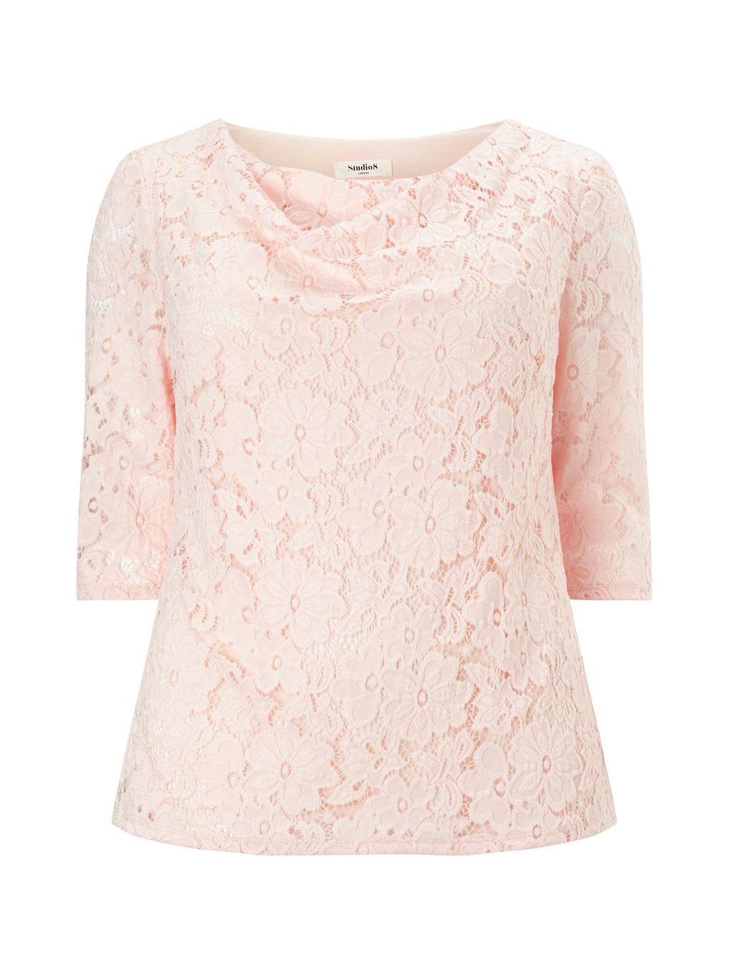 Simone Top, Blush - neckline: cowl/draped neck; pattern: plain; predominant colour: blush; occasions: work, occasion; length: standard; style: top; fibres: polyester/polyamide - mix; fit: body skimming; sleeve length: 3/4 length; sleeve style: standard; pattern type: fabric; texture group: other - light to midweight; embellishment: lace; season: s/s 2016