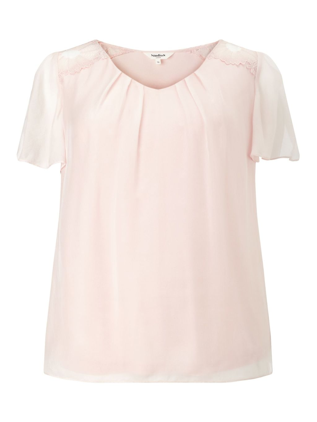 Tammy Top, Blush - neckline: v-neck; pattern: plain; predominant colour: blush; occasions: casual; length: standard; style: top; fibres: silk - 100%; fit: body skimming; sleeve length: short sleeve; sleeve style: standard; texture group: crepes; pattern type: fabric; season: s/s 2016; wardrobe: basic