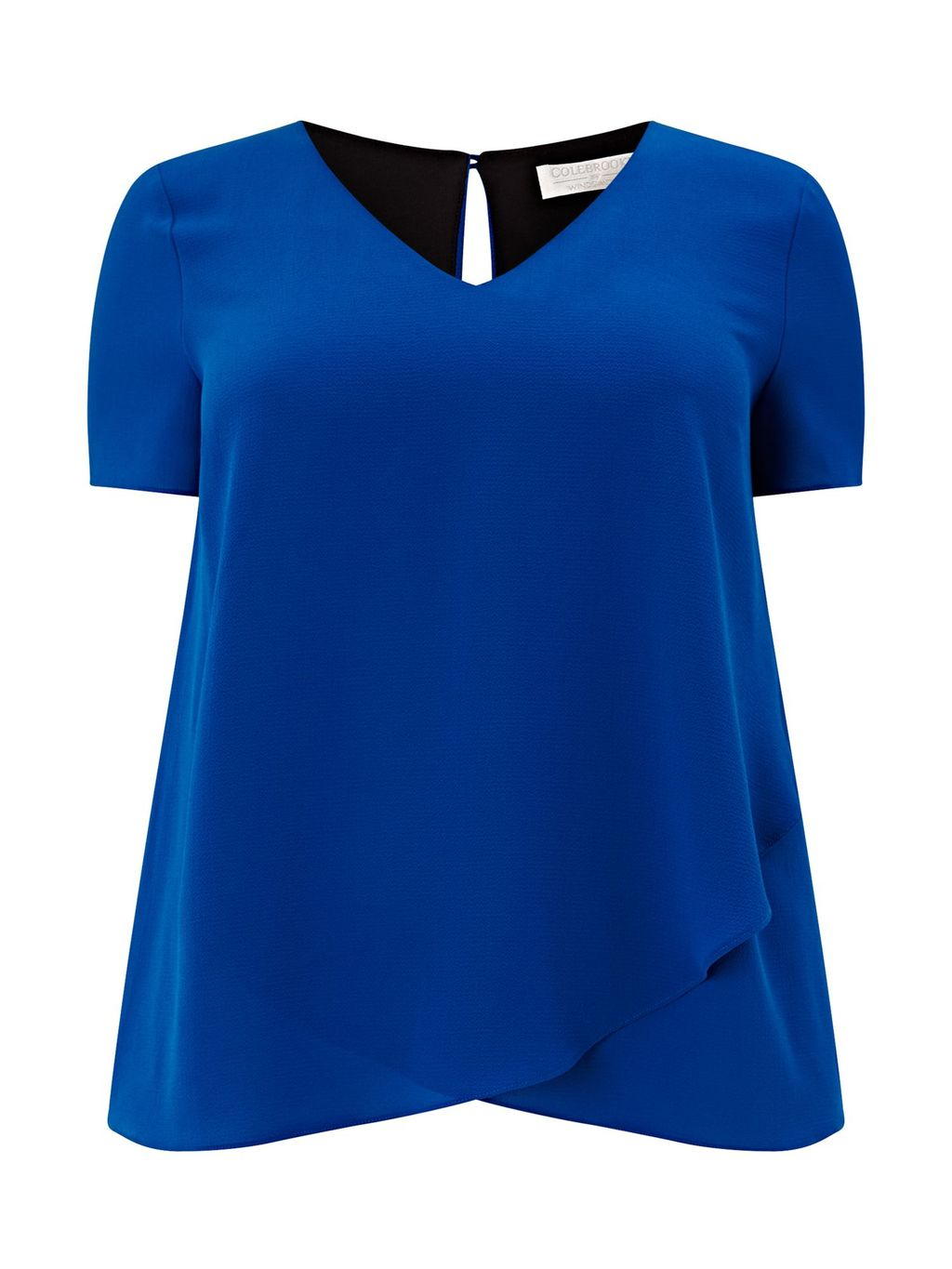 Jersey Woven Layered Top, Blue - neckline: v-neck; pattern: plain; predominant colour: royal blue; occasions: casual; length: standard; style: top; fibres: polyester/polyamide - 100%; fit: body skimming; sleeve length: short sleeve; sleeve style: standard; pattern type: fabric; texture group: jersey - stretchy/drapey; season: s/s 2016; wardrobe: highlight