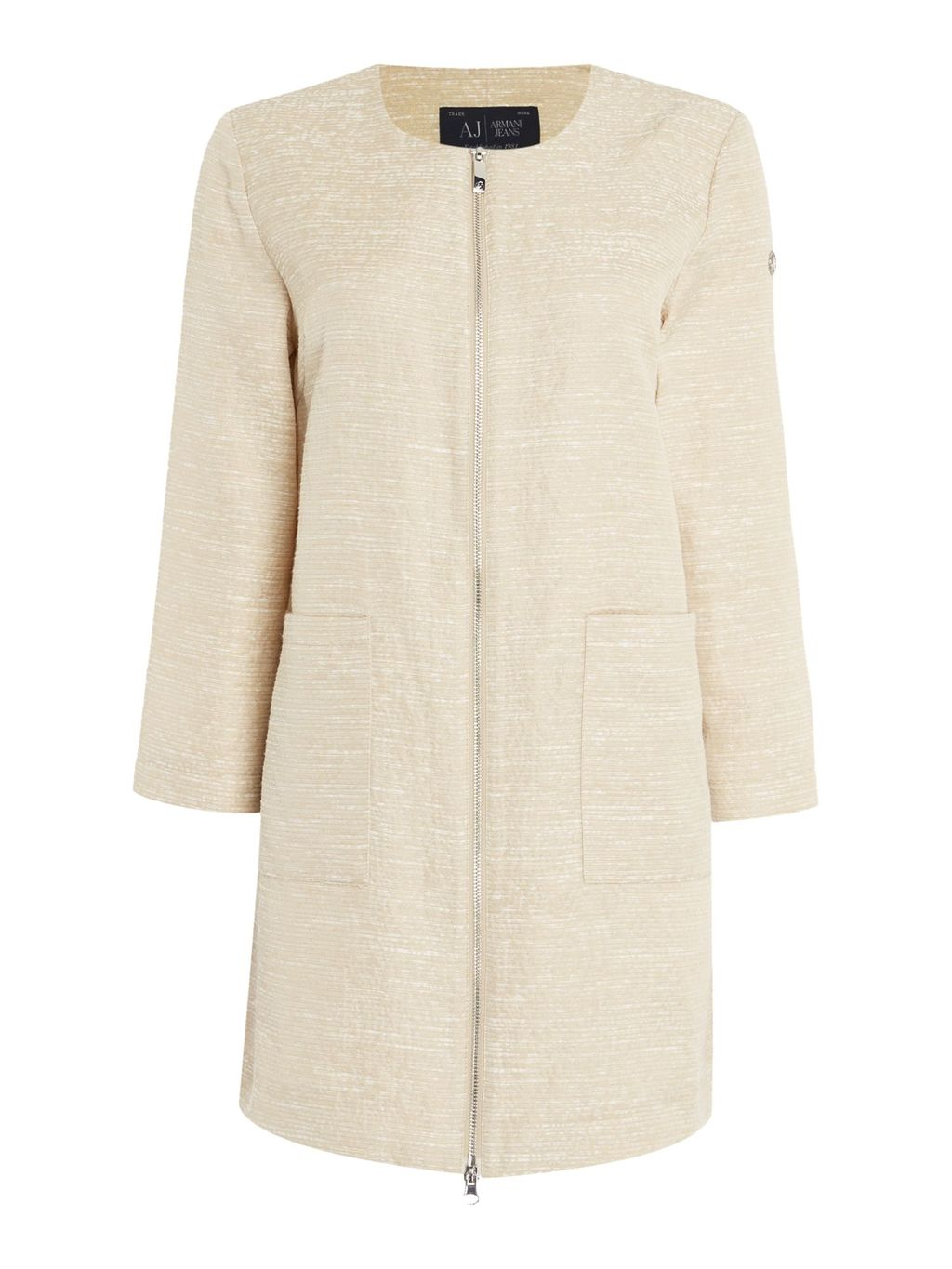 Textured Zip Through Coat, Beige - collar: round collar/collarless; style: single breasted; pattern: herringbone/tweed; length: mid thigh; predominant colour: stone; fit: straight cut (boxy); fibres: wool - mix; occasions: occasion; sleeve length: long sleeve; sleeve style: standard; collar break: high; pattern type: fabric; pattern size: light/subtle; texture group: other - light to midweight; season: s/s 2016; wardrobe: event; embellishment location: hip