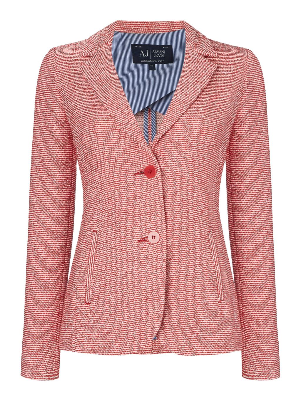 Single Breasted Tweed Blazer, Red - style: single breasted blazer; collar: standard lapel/rever collar; pattern: herringbone/tweed; predominant colour: pink; occasions: evening, work; length: standard; fit: tailored/fitted; fibres: cotton - mix; sleeve length: long sleeve; sleeve style: standard; collar break: medium; pattern type: fabric; pattern size: light/subtle; texture group: tweed - light/midweight; season: s/s 2016